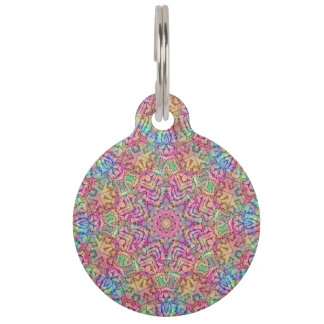Techno Colors  Vintage Kaleidoscope  Dog Cat Tag