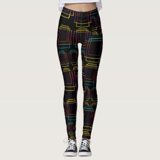 Techno electronic dance music geometric design leggings