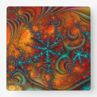 Techno Psychedelic Fractal Decor Square Wall Clock