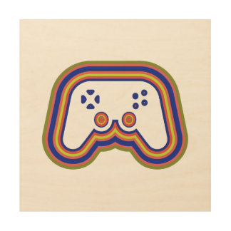 Techno Video Game Controller Wood Canvases