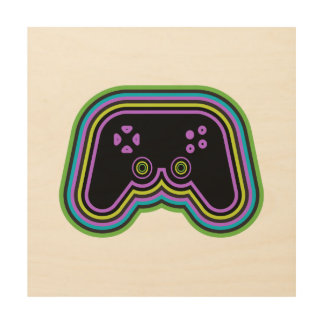 Techno Video Game Controller Wood Prints