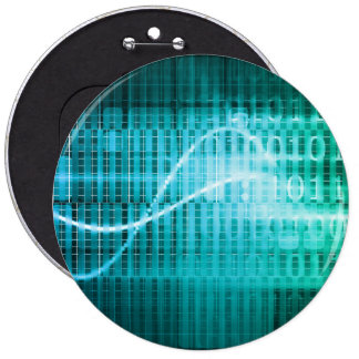 Technology Concept with Online Media Abstract Art 6 Cm Round Badge