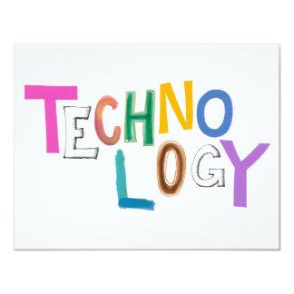 Technology modern word art tech geek fun colorful 4.25x5.5 paper invitation card