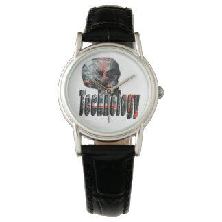 Technology Skull & Logo Ladies Black Leather Watch