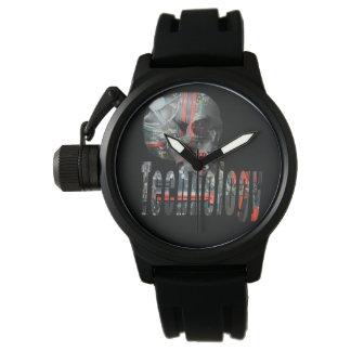 Technology Skull & Logo Mens Black Rubber Watch