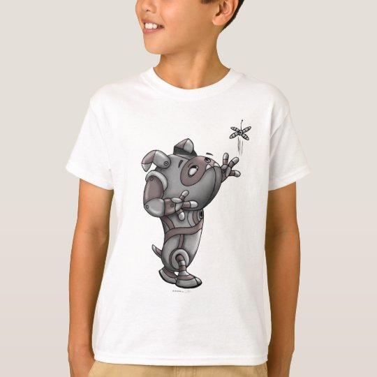 TECK ROBOT DOG CARTOON  HANES TAGLESS SHIRT KID