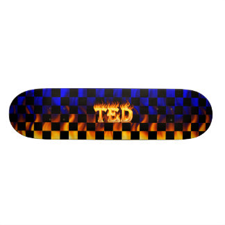Ted skateboard fire and flames design.