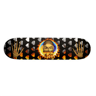 Ted skull real fire and flames skateboard design