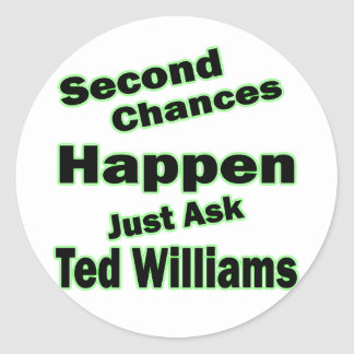 Ted Williams Second Chances Green Round Stickers