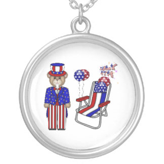 Teddies 4th of July Chair Round Pendant Necklace