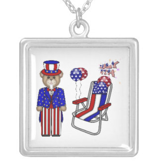 Teddies 4th of July Chair Square Pendant Necklace