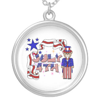 Teddies 4th of July Round Pendant Necklace