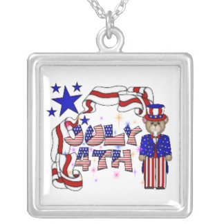 Teddies 4th of July Square Pendant Necklace