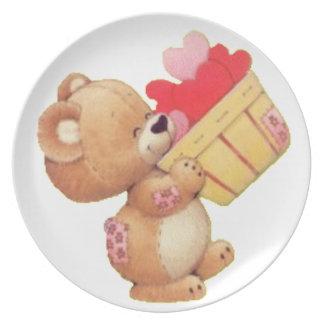 Teddy And A Basket Of Hearts Plate