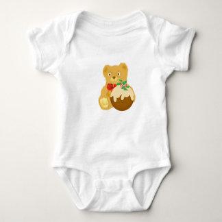 Teddy and Christmas Pudding Baby Bodysuit