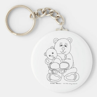 Teddy and Teddy Basic Round Button Key Ring