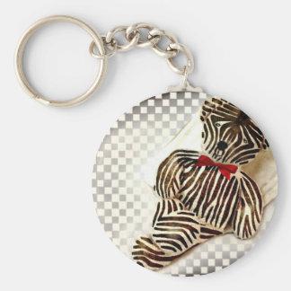 Teddy as a Zebra Basic Round Button Key Ring