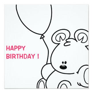 Teddy bear 13 cm x 13 cm square invitation card