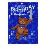 Teddy Bear 1st Birthday for Boy Greeting Card