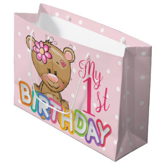 Teddy Bear 1st Birthday Party Custom Large Gift Bag
