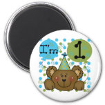 Teddy Bear 1st Birthday Tshirts and Gifts 6 Cm Round Magnet