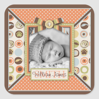 Teddy Bear 3D-look Bow & Button Birth Announcement Square Sticker