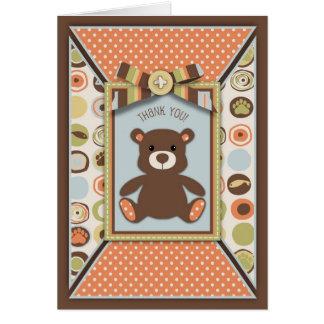 Teddy Bear 3D-look Bow & Button Thank You Greeting Card