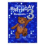 Teddy Bear 3rd Birthday for Boy Greeting Cards