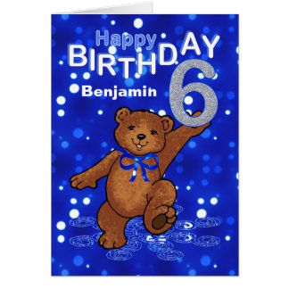 Teddy Bear 6th Birthday for Boy Card