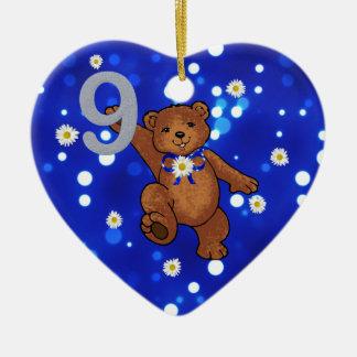 Teddy Bear 9th Birthday for Girl Christmas Ornaments