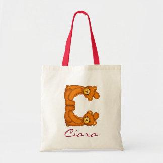 Teddy Bear Alphabet Letter~C~Initial Monogram Bag