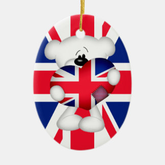 Teddy Bear and Big Union Jack Heart Christmas Ornament