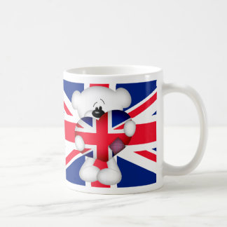 Teddy Bear and Big Union Jack Heart Coffee Mug