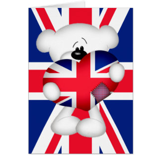 Teddy Bear and Big Union Jack Heart Greeting Card