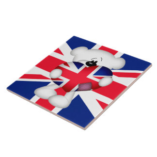 Teddy Bear and Big Union Jack Heart Large Square Tile