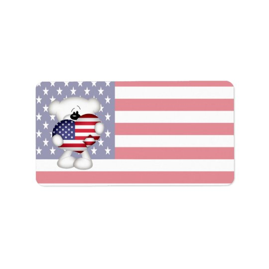 Teddy Bear and Big USA Flag Heart Label