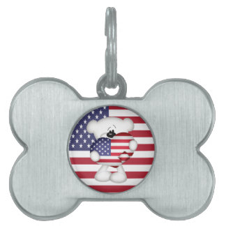 Teddy Bear and Big USA Flag Heart Pet Name Tag