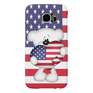 Teddy Bear and Big USA Flag Heart Samsung Galaxy S6 Cases