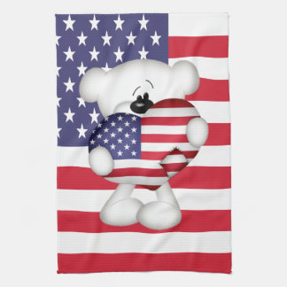 Teddy Bear and Big USA Flag Heart Tea Towel
