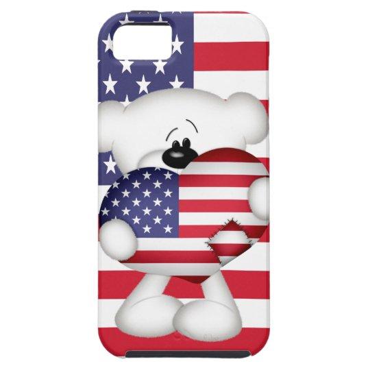 Teddy Bear and Big USA Flag Heart Tough