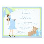 Teddy Bear And Blue Gift Baby Shower Invitation 11 Cm X 14 Cm Invitation Card
