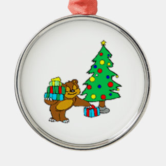 Teddy Bear and Christmas Tree Christmas Ornament