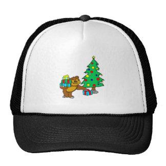 Teddy Bear and Christmas Tree Mesh Hat