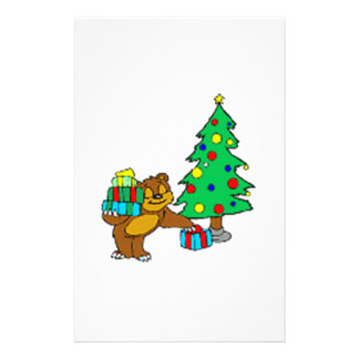 Teddy Bear and Christmas Tree Stationery
