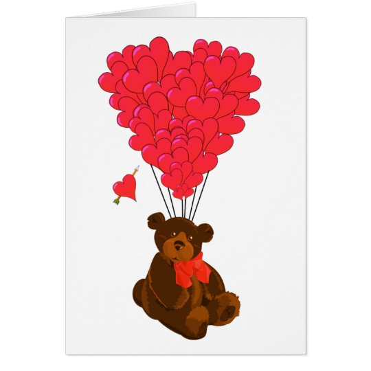 Teddy bear and  heart balloons card