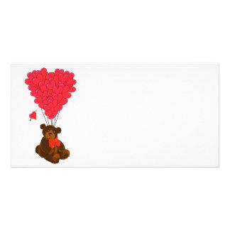 Teddy bear and  heart balloons card