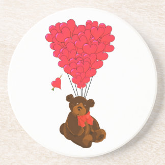 Teddy bear and  heart balloons coaster