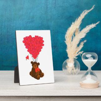 Teddy bear and  heart balloons plaque