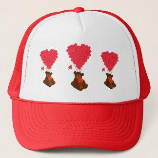 Teddy bear and  heart balloons trucker hat