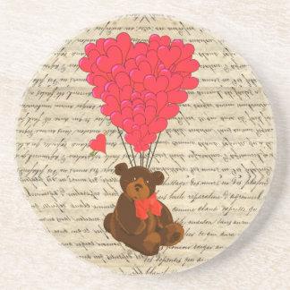 Teddy bear and heart coaster